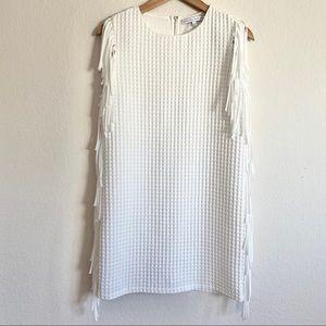 English Factory White Fringe Tank Sheath Dress